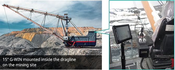 """15"""" G-WIN mounted inside the dragline on the mining site"""