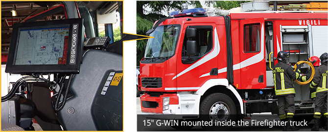 "15"" G-WIN mounted inside the Firefighter truck"