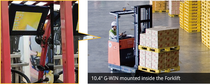 "10.4"" G-WIN mounted inside the Forklift"