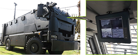"10.4"" G-WIN mounted inside the military vehicle"