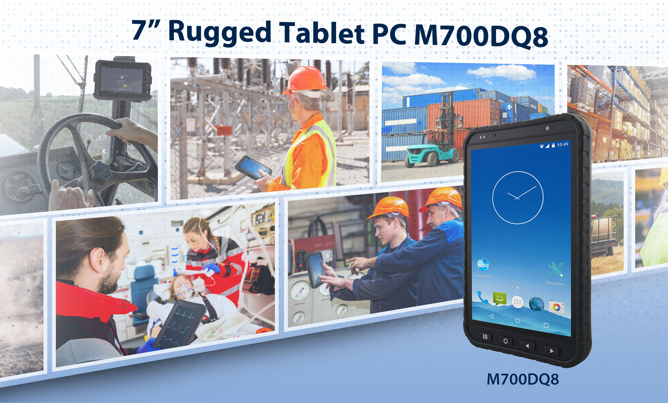 """Winmate Unveils 7"""" Rugged Arm-Based Tablet M700DQ8 with Qualcomm® Snapdragon™ Processor"""